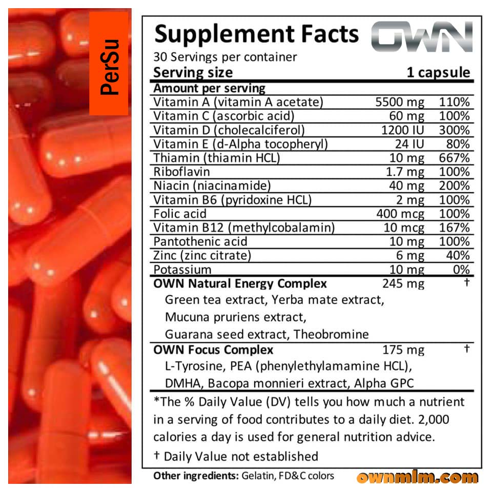 PerSu - supplement facts and nutrition value