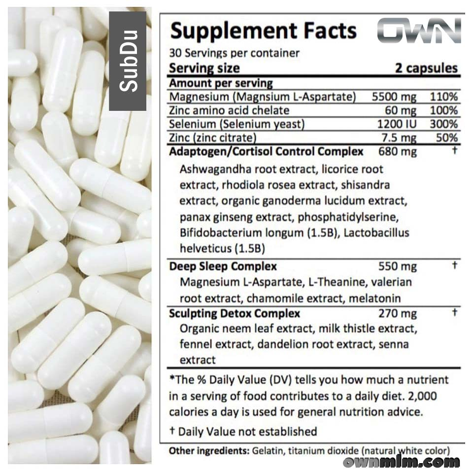 SubDu nutrition and supplement fact