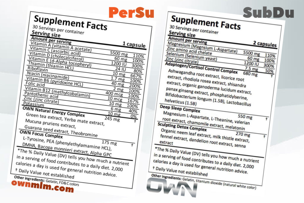 persu  subdu supplement facts