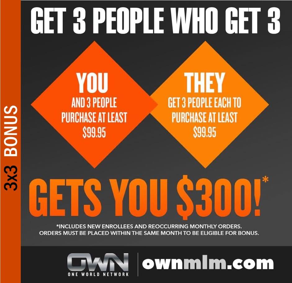 one world network 3x3 bonus