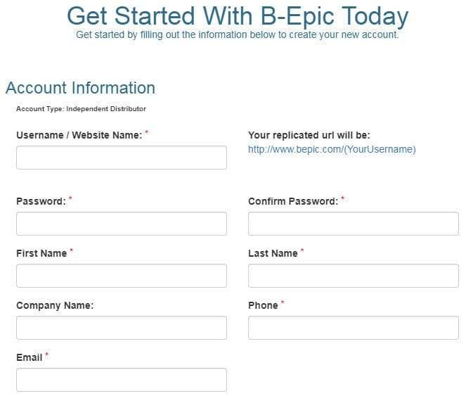B-Epic Enroll Account Profile