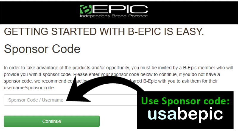 B-Epic Sponsor Code. Use it to enroll or order